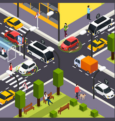 autonomous vehicle isometric background vector image