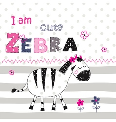 Background with cute zebra vector