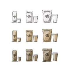 Bag packaging and take away coffee cups vector