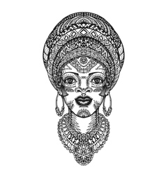 Beautiful african woman in turban Hand drawn vector image
