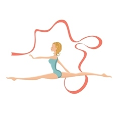 Beautiful gymnastic girl performing with ribbon vector