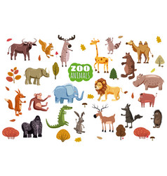 Big set of wild animals cartoon african vector