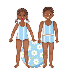 Black african american kids in summer swimsuits vector