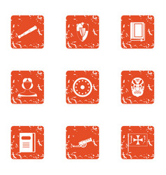 Breakthrough icons set grunge style vector
