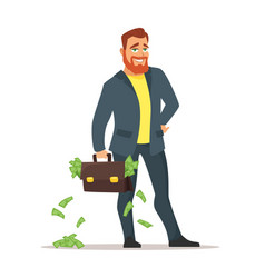 businessman with suitcase with money vector image