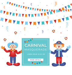 carnival funfar colorful template witn clowns vector image