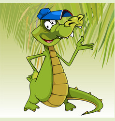 Cartoon character cheerful crocodile in a cap vector