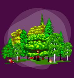 Cartoon set trees outdoor park outdoor vector