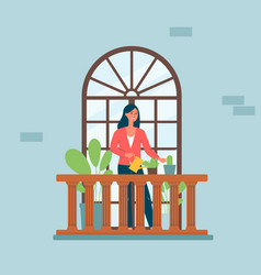 Cartoon woman on balcony with arched window vector