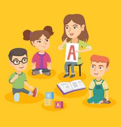 Caucasian teacher teaching children the alphabet vector
