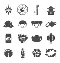 chinese party holiday celebration icons set vector image