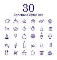 Christmas line icon set vector