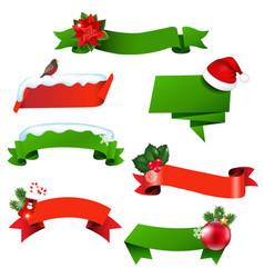 christmas ribbon set vector image