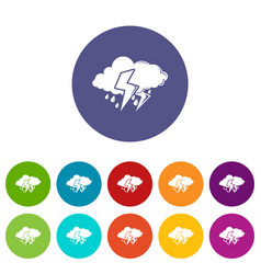 cloud lightning icons set color vector image