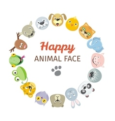 collection cute animal faces animal head icons vector image