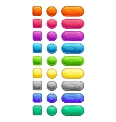 Colorful glossy buttons set vector