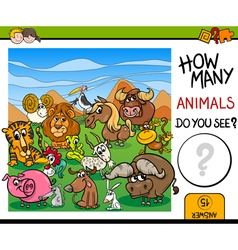 Count animals game for kids vector