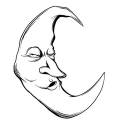 Crescent moon face in white vector