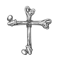 Cross made human bones tattoo vector