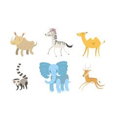 cute african animals set rhino zebra camel vector image