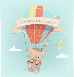 Cute pig boy fly with balloon and floral wreath vector