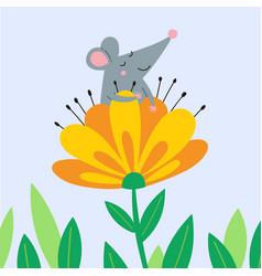 cute rat sitting in flower vector image
