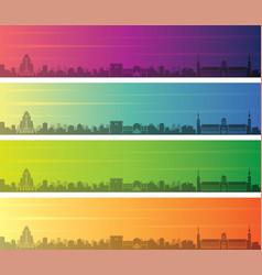 damascus multiple color gradient skyline banner vector image