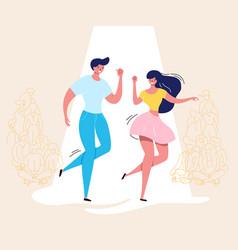dancing couple rockabilly dance swing dancers vector image