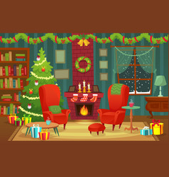 decorated christmas room winter holiday interior vector image