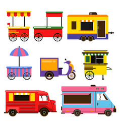 different food trucks set vector image