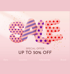 Discount sale banner or poster design on bright vector