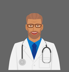 doctor medic man in white coat with stethoscope vector image