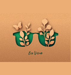 Eco vision or green view 3d papercut concept vector