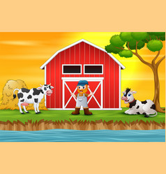 farmer and farm animal in front of the barn vector image