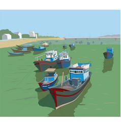 Fishing boats on river kai landscape sketch vector