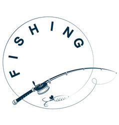 Fishing rod with reel and line silhouette vector