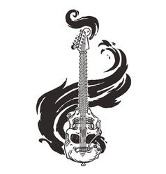 Flaming Guitar Skull vector