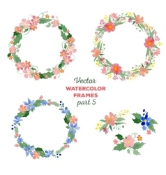 Floral watercolor wreaths frames bouquets vector