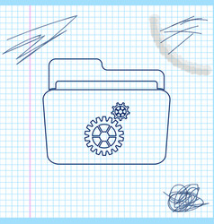 folder settings with gears line sketch icon vector image