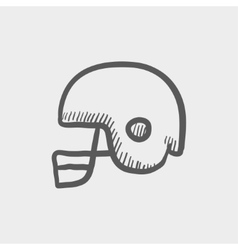 Football helmet sketch iconj vector