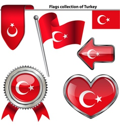 Glossy icons with Turkey flag vector