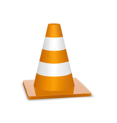 Glossy traffic cone icon isolated on white for vector
