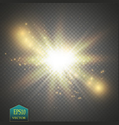Glow light effect starburst with sparkles on vector