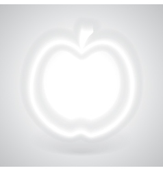 Glowing White Apple with Shadow vector image