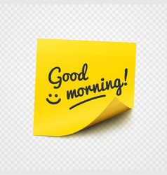Good morning note on yellow sticky paper vector