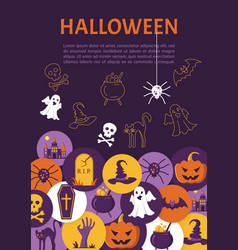 halloween banner halloween icons in circles on vector image