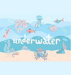 Hand drawn cartoon sea underwater nature scene vector