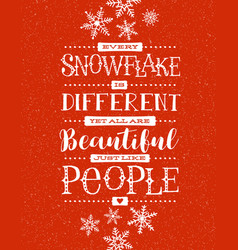 Hand drawn snowflakes and inspiring quote vector