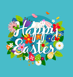 Happy easter card emblem vector