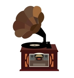 Isolated retro turntable vector image